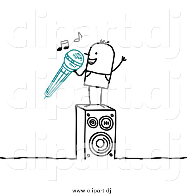 Vector Clipart of a Stick Man Singing Karaoke