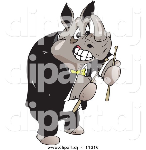 Vector Clipart of a Strong Cartoon Rhino Wearing a Tuxedo While Holding Drumsticks