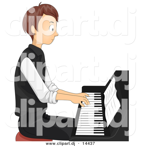 Vector Clipart of a Teen Cartoon Boy Playing Piano