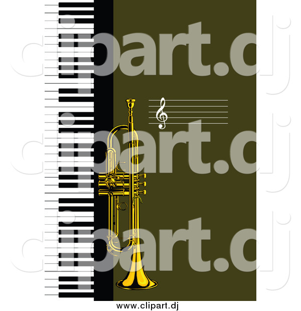 Vector Clipart of a Trumpet and Keyboard Background