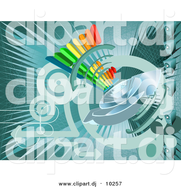 Vector Clipart of a Turquoise Internet Background with a Loud Speaker and Circles