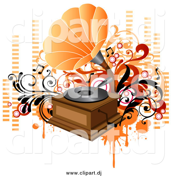 Vector Clipart of a Vintage Phonograph Playing Music, with Orange and Red Vines, Circles and Equalizer Bars