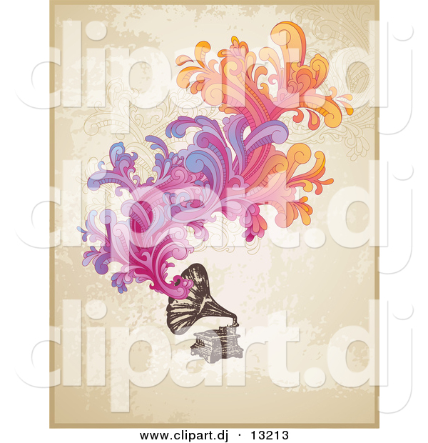 Vector Clipart of a Vintage Phonograph with Colorful Swirling Floral Designs over Grunge Beige Background