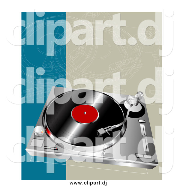 Vector Clipart of a Vinyl Record on a Player
