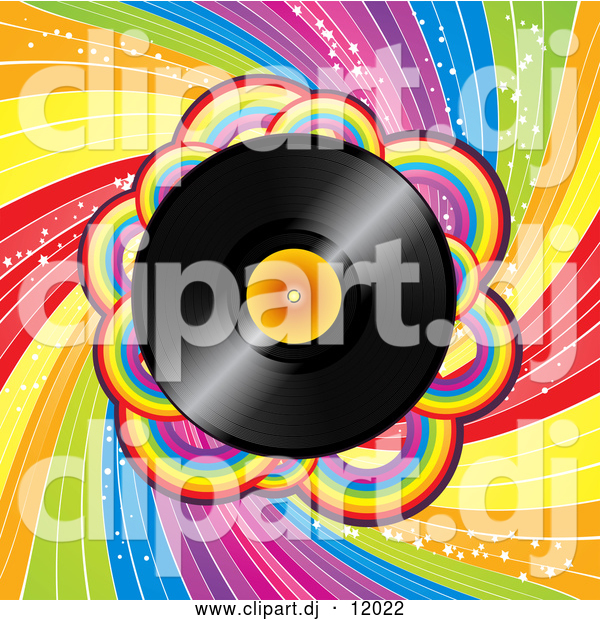 Vector Clipart of a Vinyl Record over a Spiraling Rainbow BackgroundVinyl Record over a Spiraling Rainbow Background