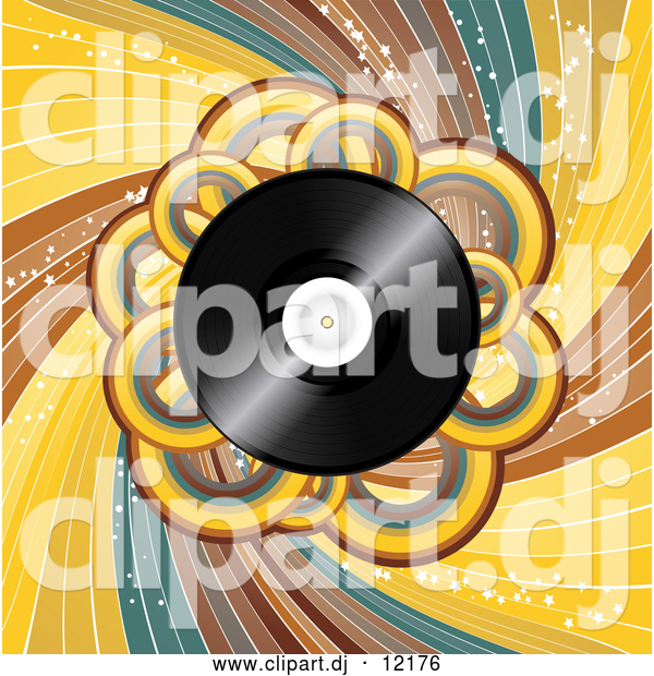 Vector Clipart of a Vinyl Record with Loops and Swirls