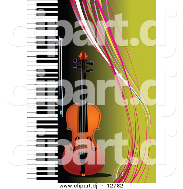 Vector Clipart of a Violin and a Piano on Green with Colorful Waves