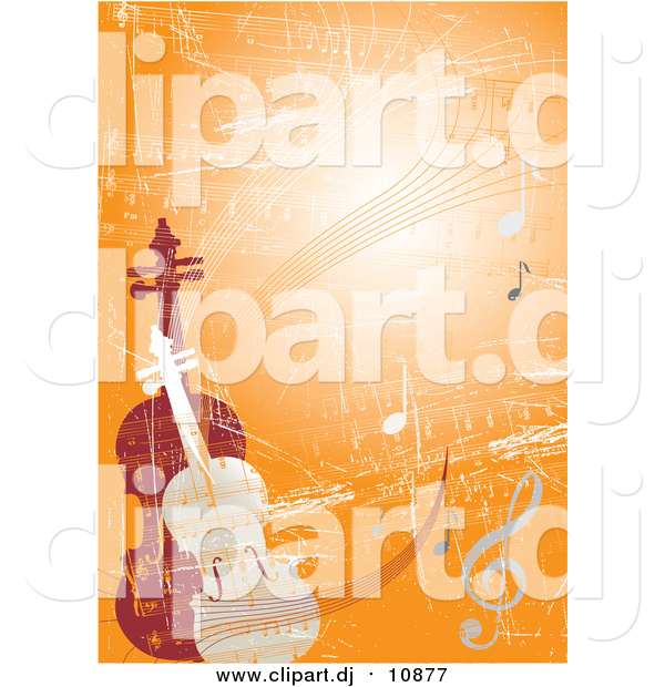Vector Clipart of a Violin and Viola or Cello Standing Upright on an Orange Grunge Background