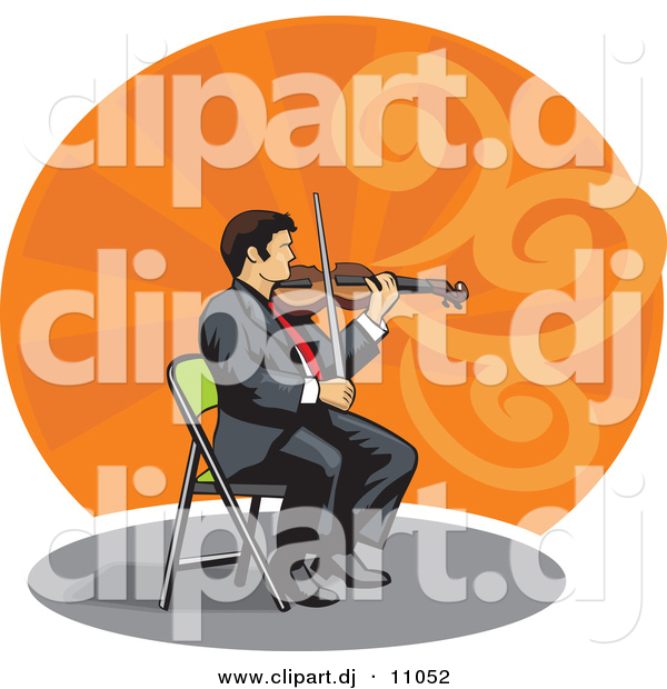 Vector Clipart of a Violinist Sitting on a Chair While Playing a Violin
