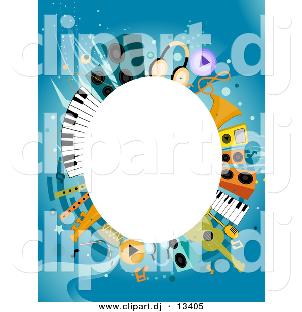 Vector Clipart of a White Oval Copyspace Background Within Music Items Border Design