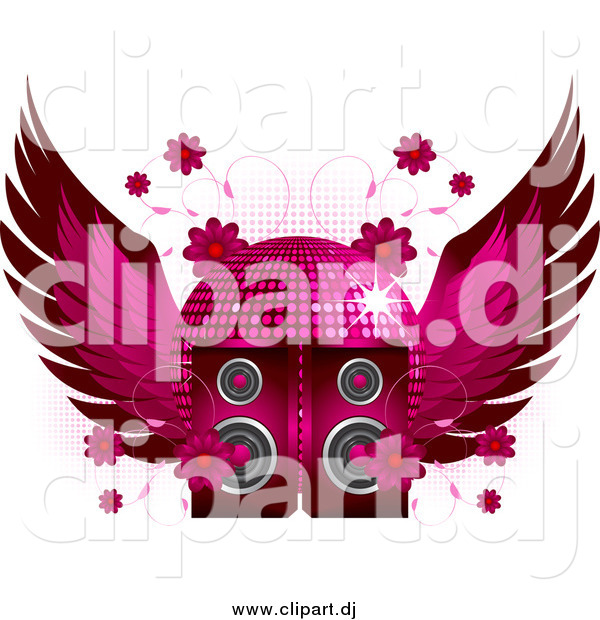 Vector Clipart of a Winged Disco Ball Flowers and Speakers