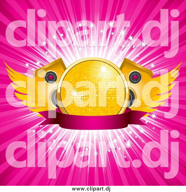 Vector Clipart of a Winged Gold Disco Ball with Speakers over a Blank Banner and a Burst of Rays
