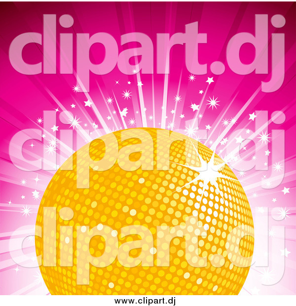 Vector Clipart of a Yellow Disco Ball on a Bursting Pink Background with Stars