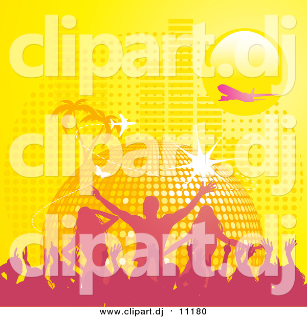 Vector Clipart of a Yellow Disco Ball Planet with Palm Trees, Butterflies, a Plane, and Equalizer Bars Under a Yellow Sun