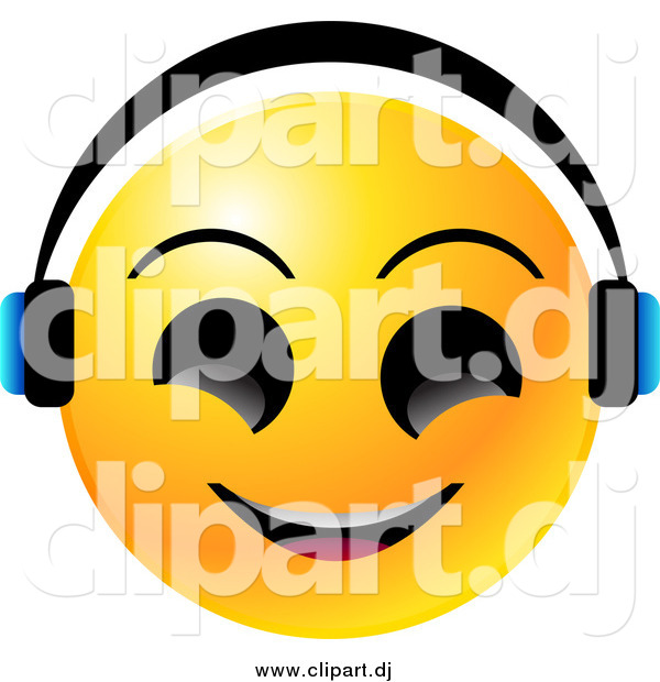 Vector Clipart of a Yellow Emoticon Face Smiling and Wearing Headphones, Listenting to Tunes