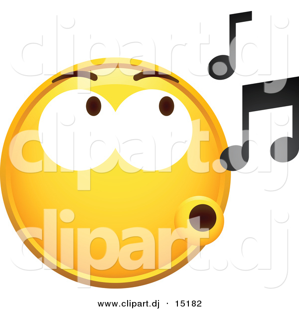 Vector Clipart of a Yellow Smiley Whistling Music Notes