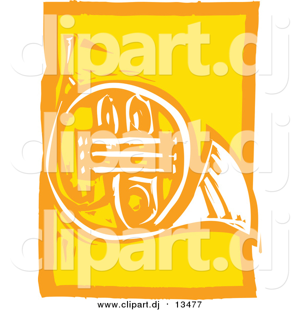 Vector Clipart of a Yellow Woodcut French Horn