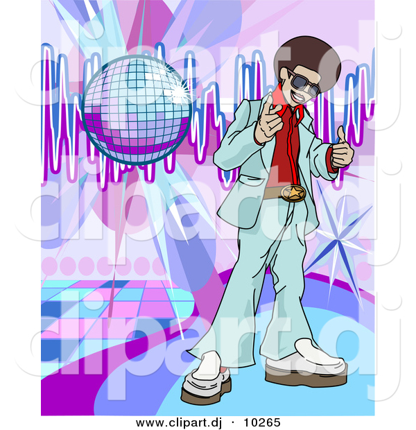 Vector Clipart of a Young Black Man with Afro Standing Beside a Disco Ball on a Dance Floor