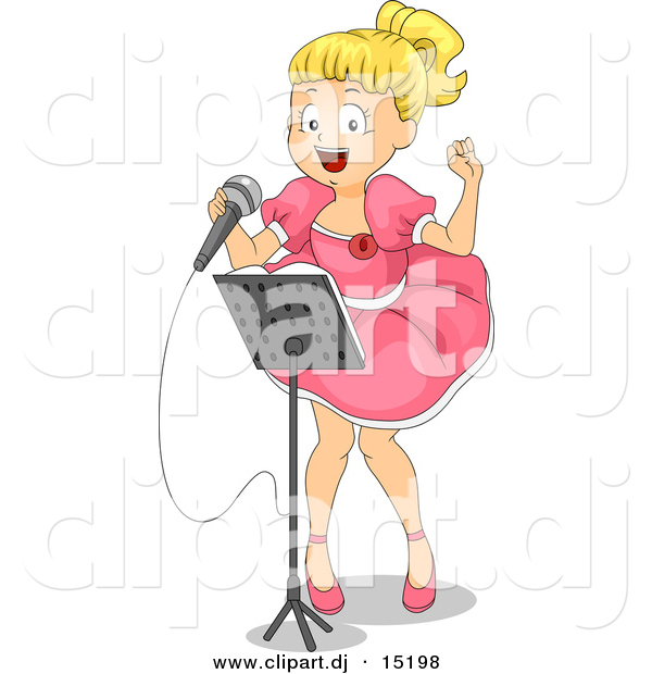 Vector Clipart of a Young Cartoon Girl Singing a Song at Talent Show