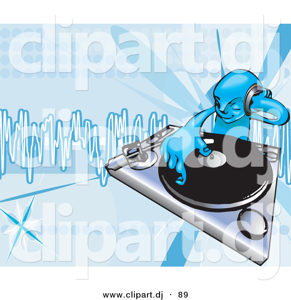 Vector Clipart of a Young Male DJ Mixing Records on a Turntable