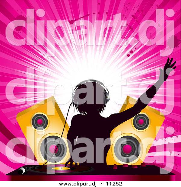 Vector Clipart of an Energetic Female DJ Mixing Records at a Party with Speakers and a Pink Background
