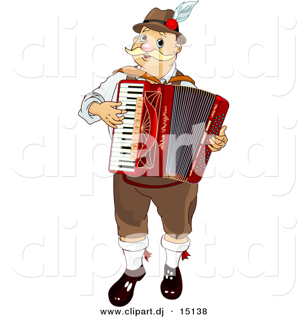 Vector Clipart of an Oktoberfest Man Playing Accordian Music