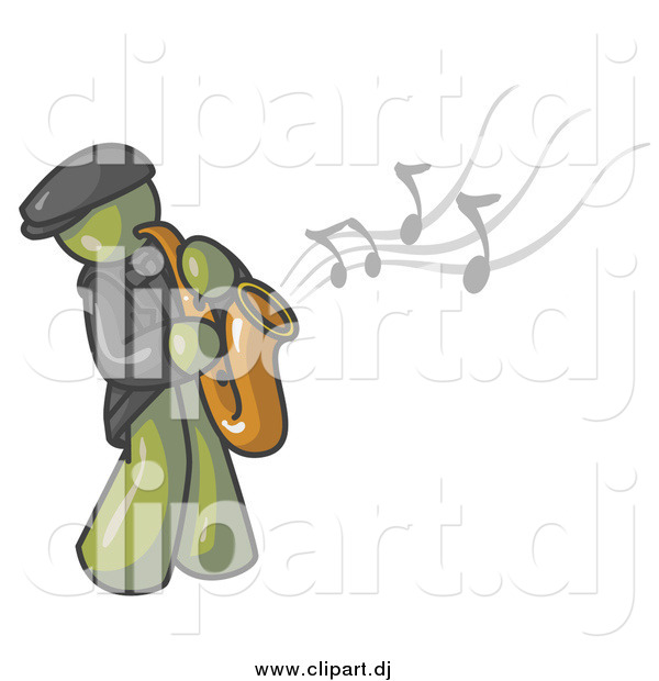 Vector Clipart of an Olive Green Musician Playing Jazz with a Saxophone