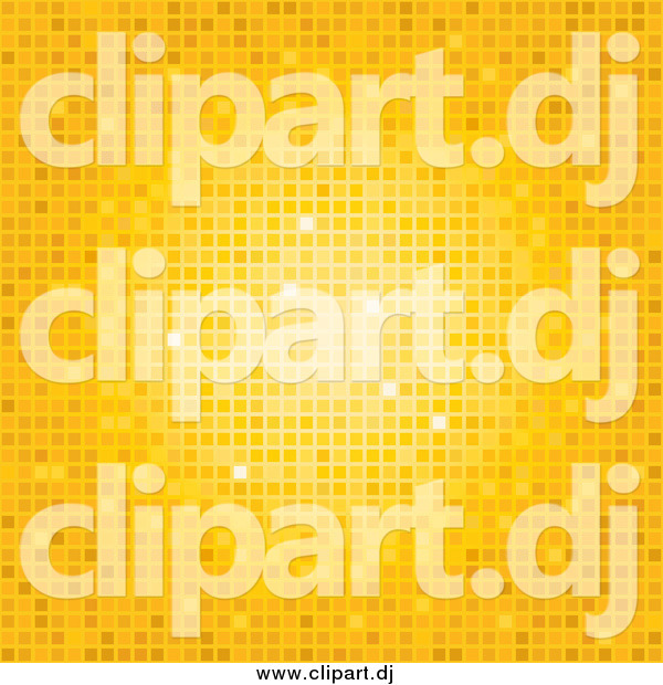 Vector Clipart of an Orange and Yellow Mosaic Disco Background