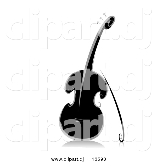 Vector Clipart of an Ornate Violin - Black and White Version