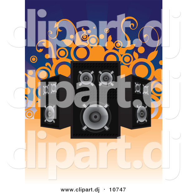 Vector Clipart of Black and Chrome Music Speakers Facing Different Directions over a Blue Background with Orange Vines and Circles