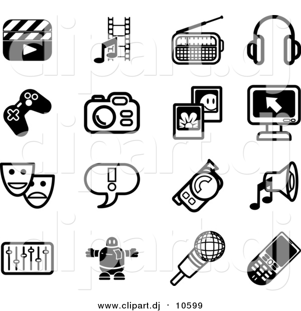 Vector Clipart of Black and White Clapboard, Film Strip, Radio, Headphones, Controller, Camera, Pictures, Computer, Masks, Exclamation Point, Video Camera, Speaker, Equalizer, Robot, Microphone and Cell Phone Icons on a White Background