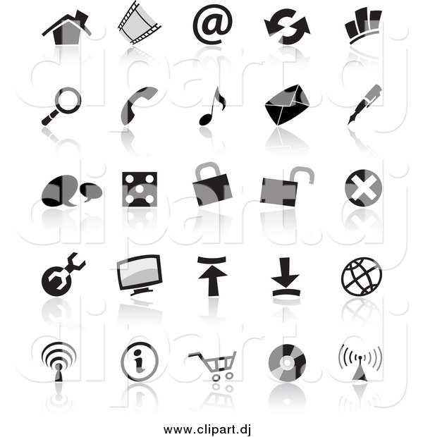 Vector Clipart of Black and White Icons