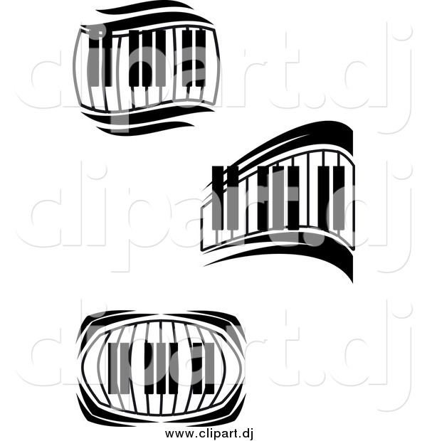 Vector Clipart of Black and White Keyboards