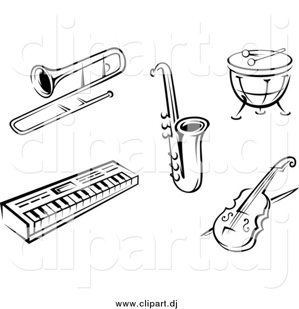 Vector Clipart of Black and White Music Instruments