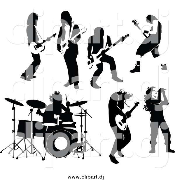 Vector Clipart of Black and White Rock and Roll Male Musicians