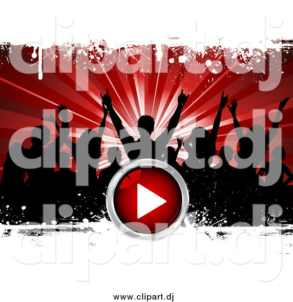 Vector Clipart of Black Silhouetted Party People over a Bursting Red Background with White Grunge and a Red Play Button