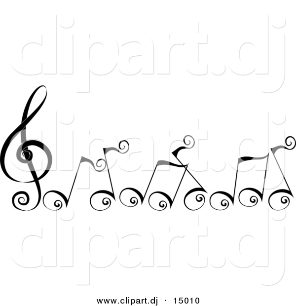 Vector Clipart of Cartoon Black Swirly Music Notes