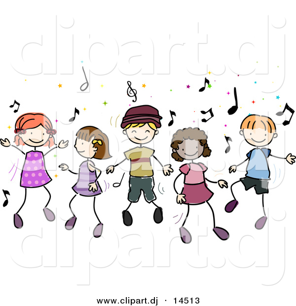 Vector Clipart of Cartoon Doodled Kids Dancing to Music