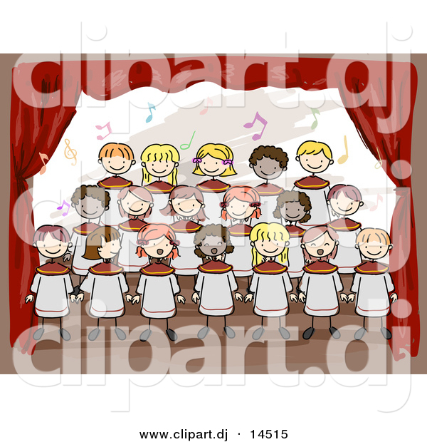 Vector Clipart of Cartoon Doodled Kids Singing at School Choir on Stage