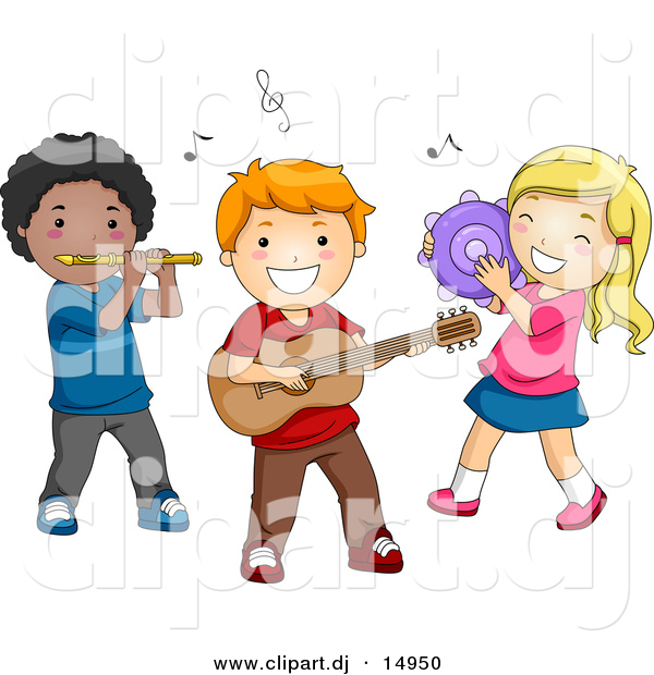 Vector Clipart of Cartoon Preschool Kids Playing Instruments