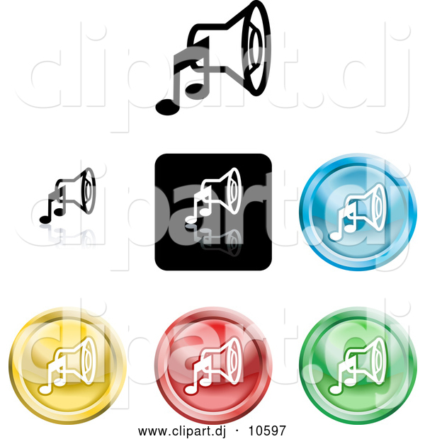 Vector Clipart of Colored Music Speaker Icons