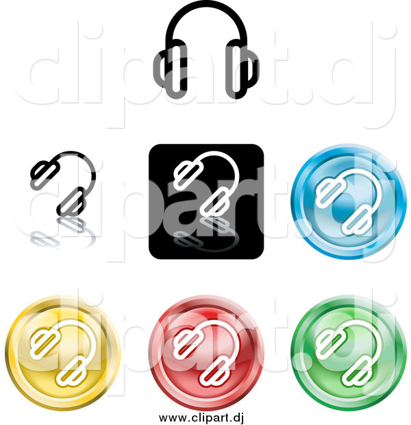 Vector Clipart of Colorful Headphones Icons