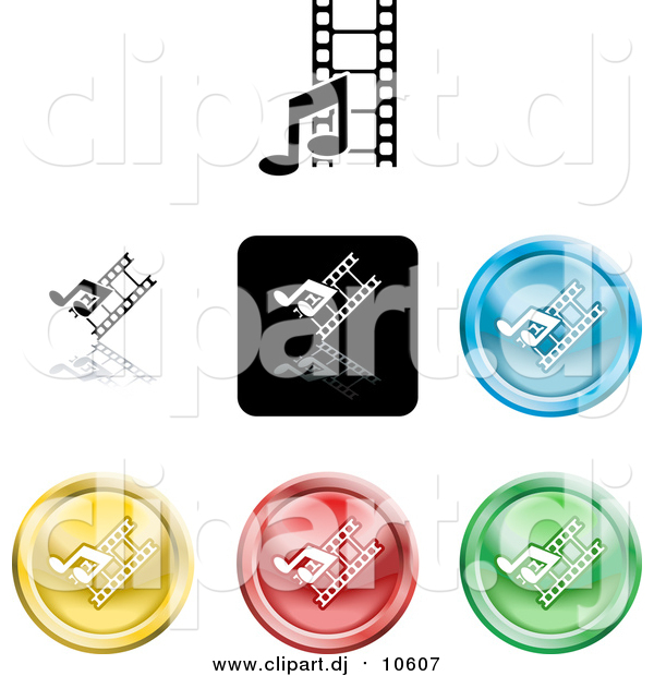 Vector Clipart of Colorful Media Music and Film Icon Buttons