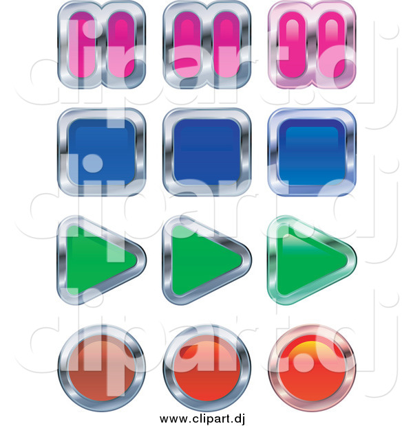 Vector Clipart of Colorful Music or Video Player Buttons; Pause, Stop, Play and Record