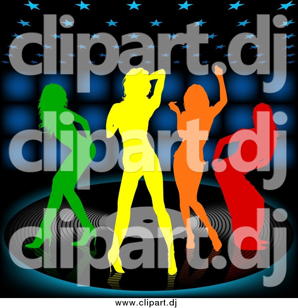 Vector Clipart of Colorful Silhouetted Women Dancing on a Vinyl Record over a Black Background with Blue Lights