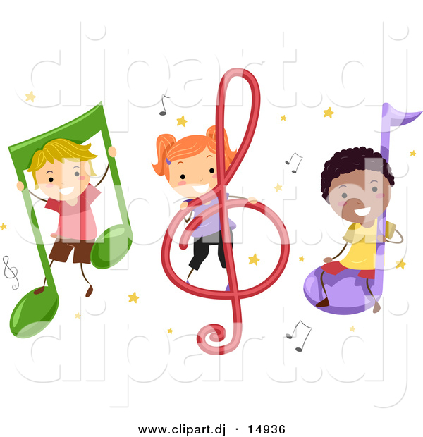 Vector Clipart of Diverse Cartoon Students with Music Notes