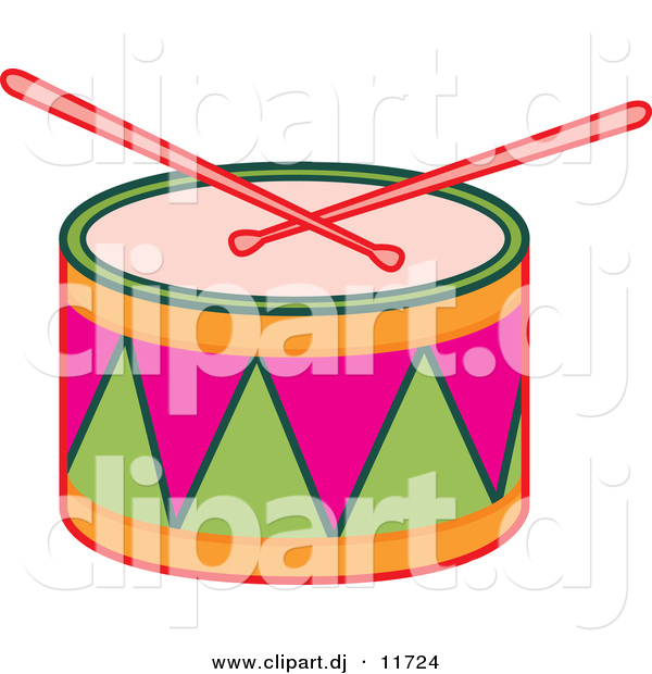 Vector Clipart of Drumsticks on Colorful Drum