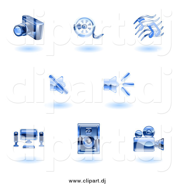 Vector Clipart of Floating Shiny Blue Media Icons