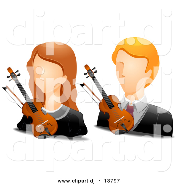 Vector Clipart of Girl and Boy Violinist Avatars - Digital Collage