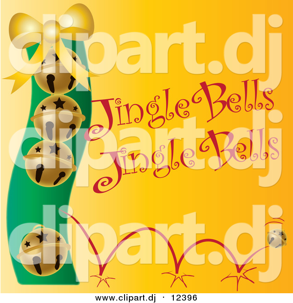 Vector Clipart of Golden Christmas Bells with Jingle Bells Text on Yellow